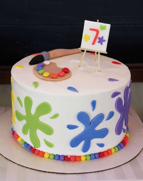 Stick With The Theme Simple Art Party Cake This One Is Straight Forward Splats Of Coloured Moulding Icing