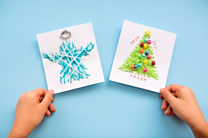 The top 15 christmas card ideas kids can make 1 string craft cards m4hsunfo