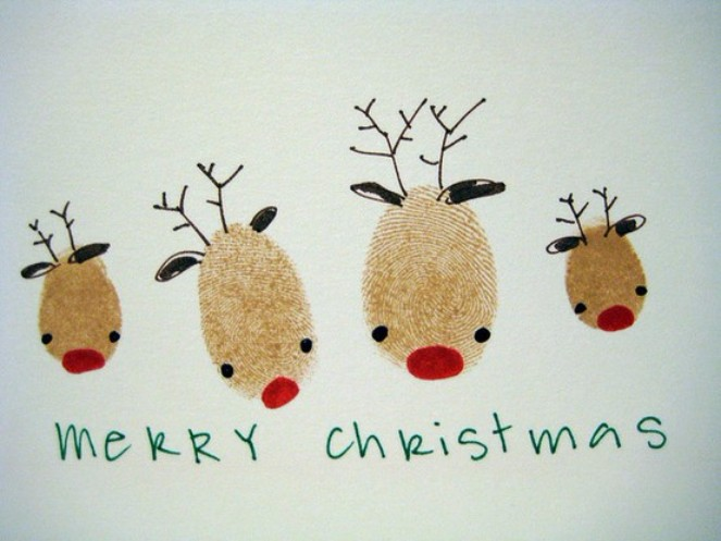 The top 15 christmas card ideas kids can make 2 fingerprint reindeer m4hsunfo