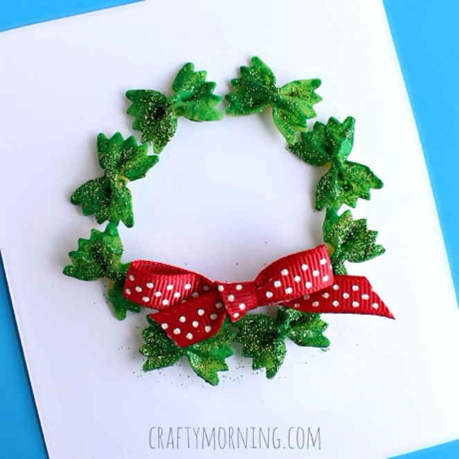 11 pasta wreath - Handmade Christmas Cards Ideas