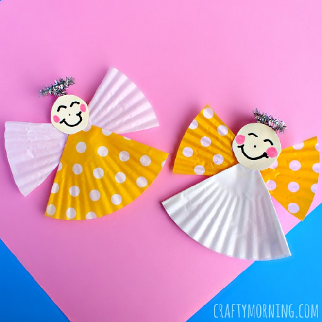 Source: https://www.craftymorning.com/cupcake-liner-angel-craft-kids/