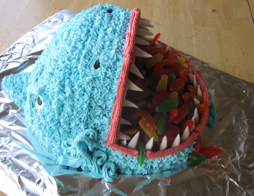 Shark attached cake